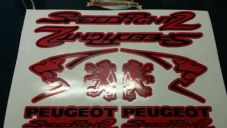 Peugeot Speedfight 2 Sticker/Decal Set  *RED & BLACK* 50, 70, 100, speedy pug
